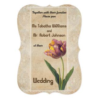 かわいいヴィンテージのスタイルの花の結婚式招待状 カード