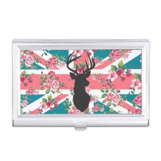 かわいいヴィンテージのバラのイギリスの英国国旗の旗のシカは先頭に立ちます 名刺ケース