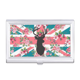 かわいいヴィンテージのバラのイギリスの英国国旗の旗のシカは先頭に立ちます 名刺入れ