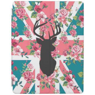 かわいいヴィンテージのバラのイギリスの英国国旗の旗のシカは先頭に立ちます iPadスマートカバー