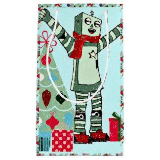 かわいいヴィンテージのパステル調の休日のロボット男の子及び木 スモールペーパーバッグ
