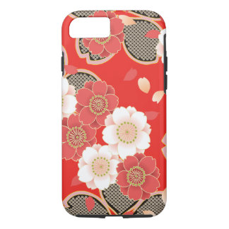 かわいいヴィンテージのレトロの花の赤く白いベクトル iPhone 8/7ケース