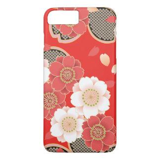 かわいいヴィンテージのレトロの花の赤く白いベクトル iPhone 8 PLUS/7 PLUSケース