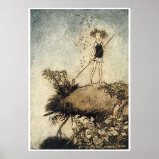 かわいいヴィンテージの妖精の国 ポスター