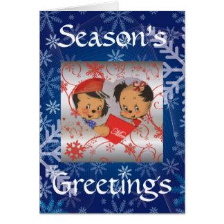 かわいいヴィンテージの小犬の漫画のクリスマス グリーティングカード