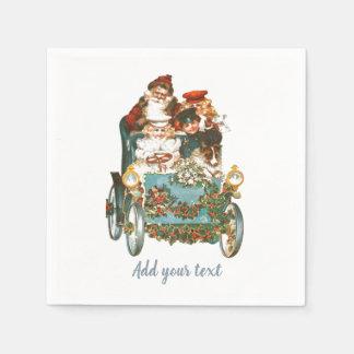 かわいいヴィンテージ車|サンタクロースのクリスマス スタンダードカクテルナプキン