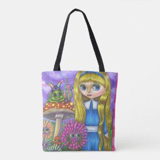 かわいい不思議の国のアリス及び幼虫及び花 トートバッグ