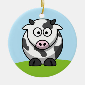 かわいい乳牛のオーナメント 陶器製丸型オーナメント