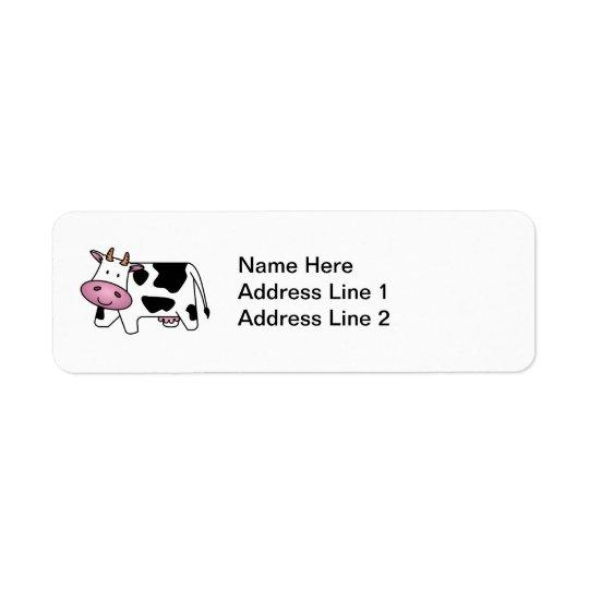 かわいい乳牛 返信用宛名ラベル