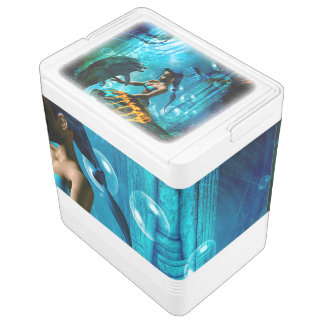かわいい人魚と遊んでいるおもしろいなイルカ IGLOOクーラーボックス