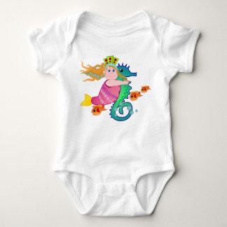 かわいい人魚のタツノオトシゴのTシャツ ベビーボディスーツ