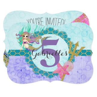 かわいい人魚の水の小さな女の子の誕生日の招待状 12.7 X 17.8 インビテーションカード