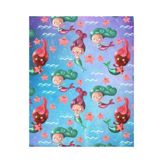 かわいい人魚パターン キャンバスプリント
