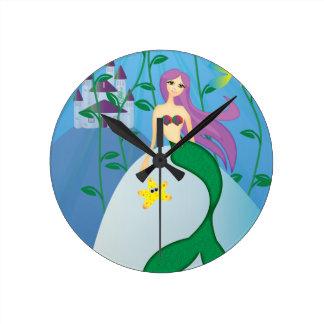 かわいい人魚 ラウンド壁時計