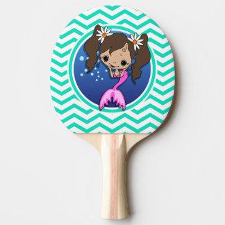 かわいい人魚; 水緑のシェブロン 卓球ラケット
