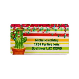 かわいい休日のサボテンの南西クリスマスの住所 ラベル