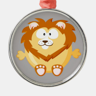かわいい円のライオン メタルオーナメント