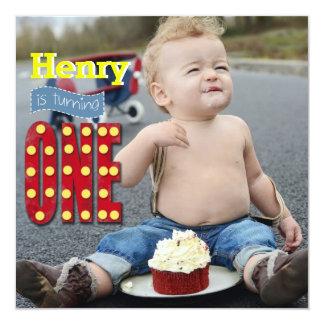 かわいい写真のヴィンテージ、最初年の誕生日の招待状 カード