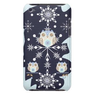 かわいい冬のフクロウおよび雪片 Case-Mate iPod TOUCH ケース