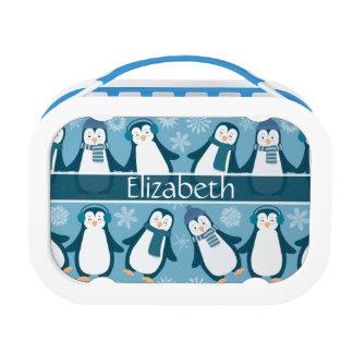 かわいい冬のペンギンのデザインは名前を加えます ランチボックス