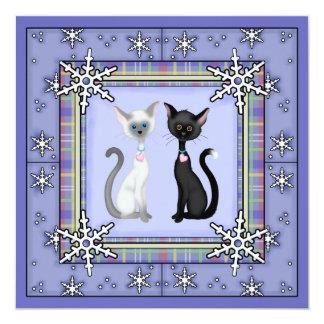 かわいい冬の子猫猫の誕生日の招待状の~の女の子 13.3 スクエアインビテーションカード