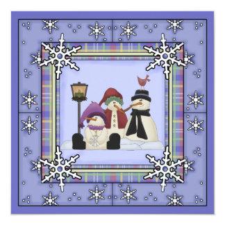 かわいい冬の雪だるまの誕生日の招待状 13.3 スクエアインビテーションカード