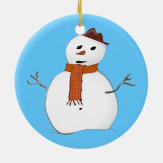 かわいい冬の雪だるまの青のクリスマス セラミックオーナメント