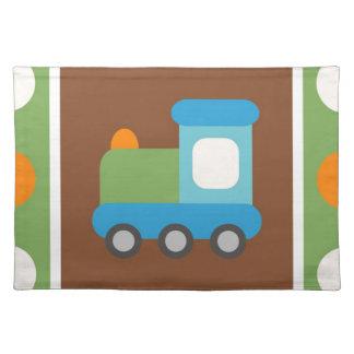 かわいい列車の交通機関の緑のオレンジの水玉模様 ランチョンマット