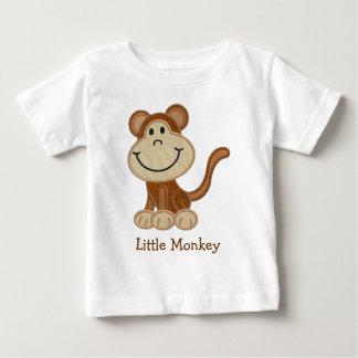 かわいい刺繍の効果小さい猿のティー ベビーTシャツ