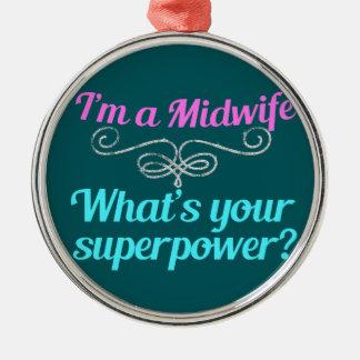 かわいい助産婦のスーパーヒーロー メタルオーナメント