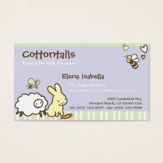 かわいい動物が付いている子供及び家族カード 名刺