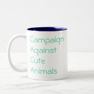 かわいい動物に対するキャンペーン、保護 ツートーンマグカップ