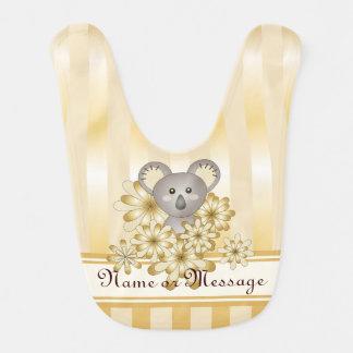 かわいい動物のコアラの金ゴールドの効果のストライプのなカスタム ベビービブ