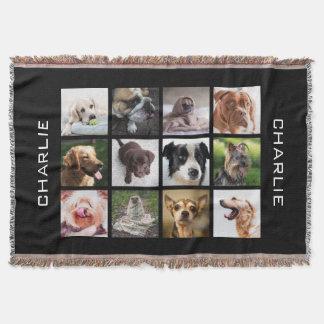 かわいい及びおもしろい犬の写真のコラージュの投球毛布 スローブランケット