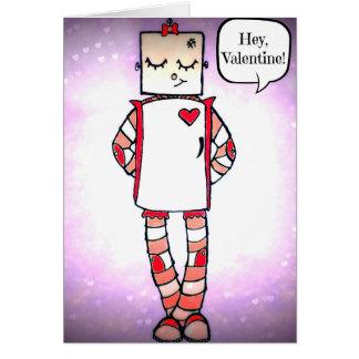 かわいい喜劇的なスタイルのロボットバレンタインデーカード カード