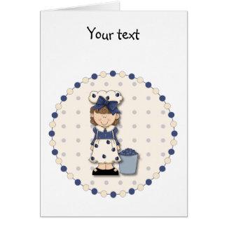 かわいい国の女の子 + ブルーベリーで満ちているバケツ カード