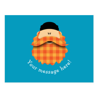 かわいい国の格子縞の明るいオレンジ髭があるキャラクター ポストカード