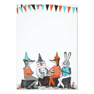 かわいい園遊会動物の誕生日の招待状 カード