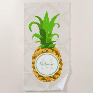 かわいい夏の熱帯パイナップル及び名前 ビーチタオル