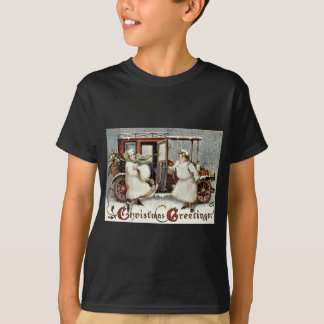 かわいい女の子のクラシックカーの冬の雪のヒイラギ Tシャツ