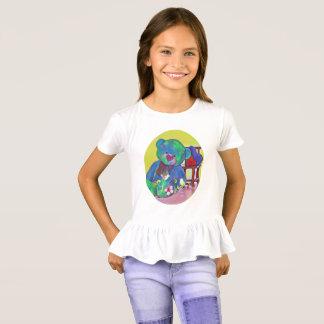 かわいい女の子のテディー・ベアのabdのハートはTシャツを波立たせました Tシャツ