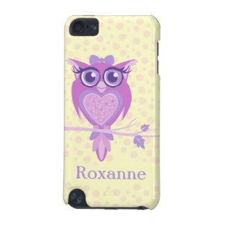 かわいい女の子のフクロウの紫色及びレモンipod touchの場合 iPod touch 5G ケース