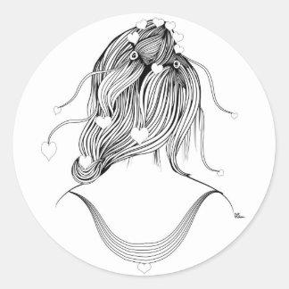 かわいい女の子のヘアスタイル 丸形シールステッカー