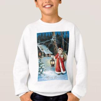 かわいい女の子のランタンのヒイラギの冬のコテージ スウェットシャツ