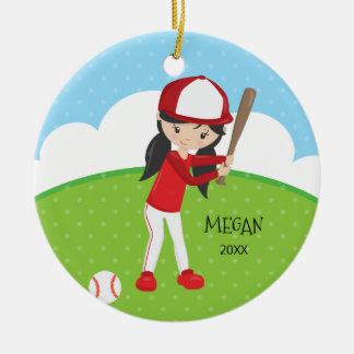 かわいい女の子の野球の名前入りなクリスマス セラミックオーナメント
