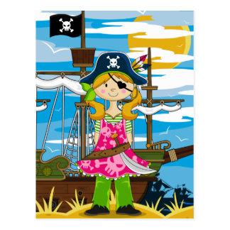 かわいい女の子のEyepatchの海賊郵便はがき ポストカード