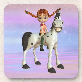 かわいい女の子及び幸せな子馬の魔法のファンタジーのコースター コースター
