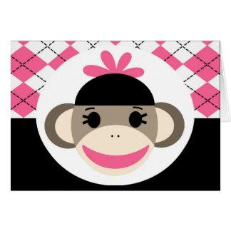 かわいい女の赤ちゃんのソックス猿のピンクの黒のアーガイル カード