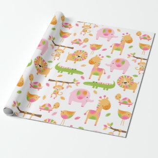 かわいい女の赤ちゃんのピンクのジャングルの動物の包装紙 ラッピングペーパー