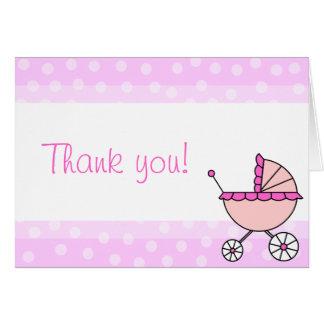 かわいい女の赤ちゃんキャリッジデザインのサンキューカード カード